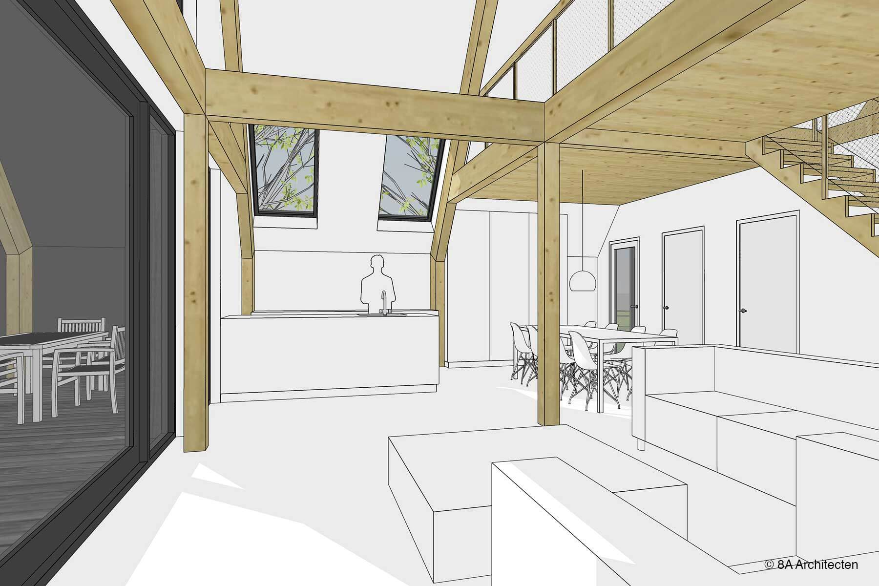 8A Architecten schuurwoning met veranda, Egchel, Limburg