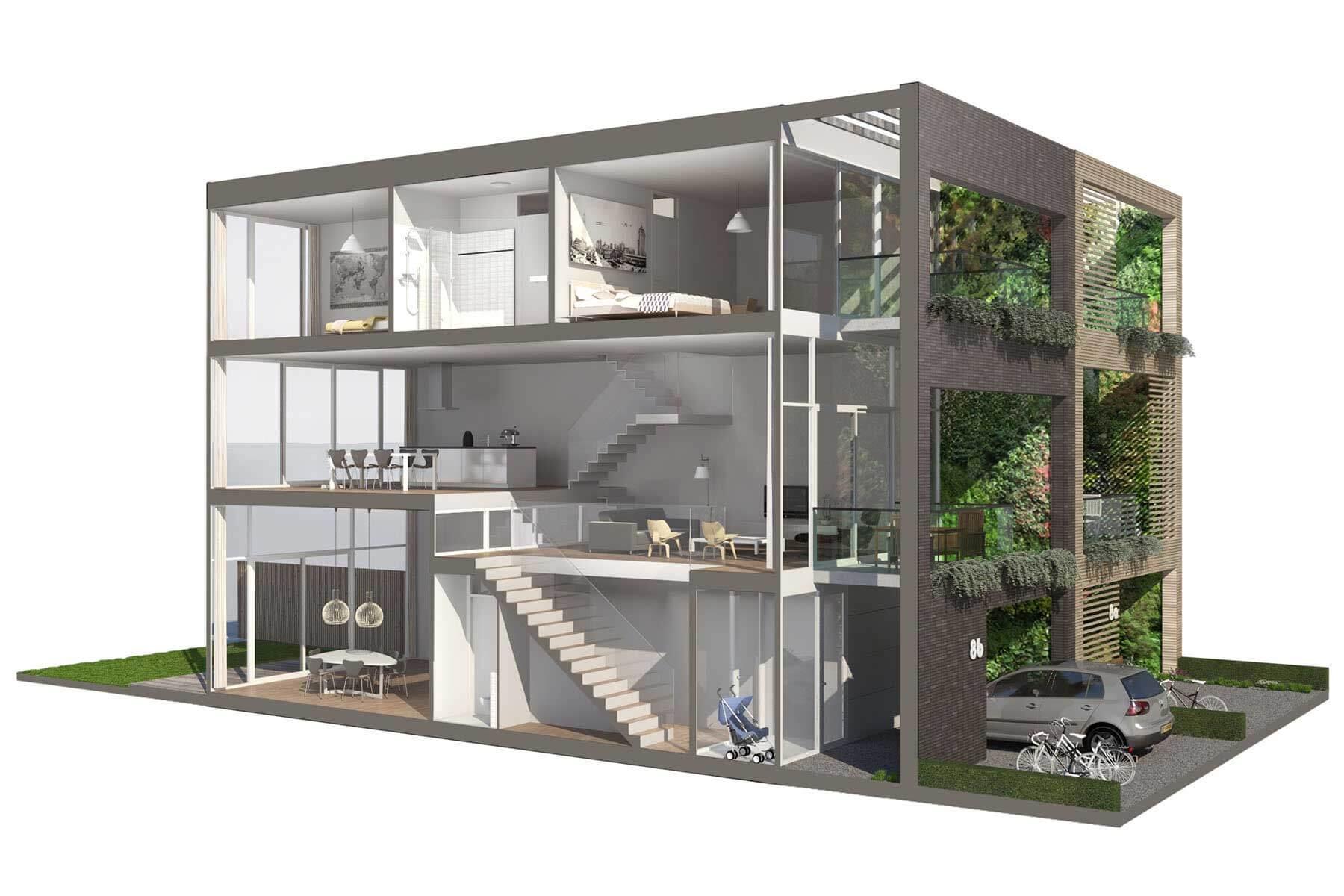 8A Architecten - zelfbouw woning met split level, IJburg Blok 59, Amsterdam