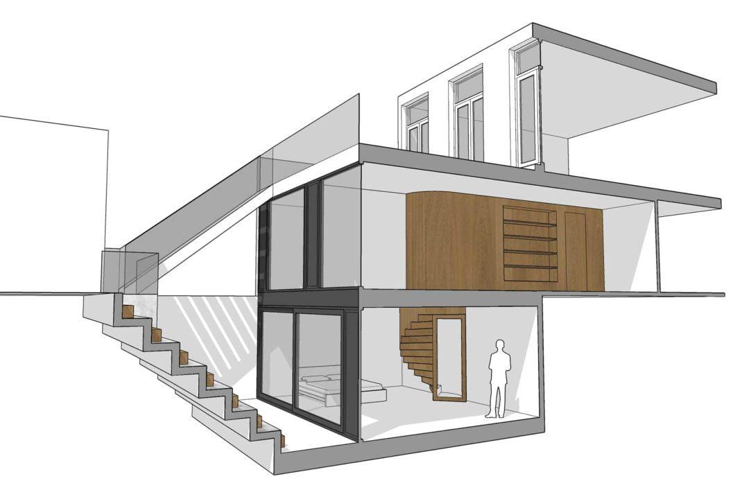 Uitbouw met kelder en dakterras, Tolsteegsingel, Utrecht