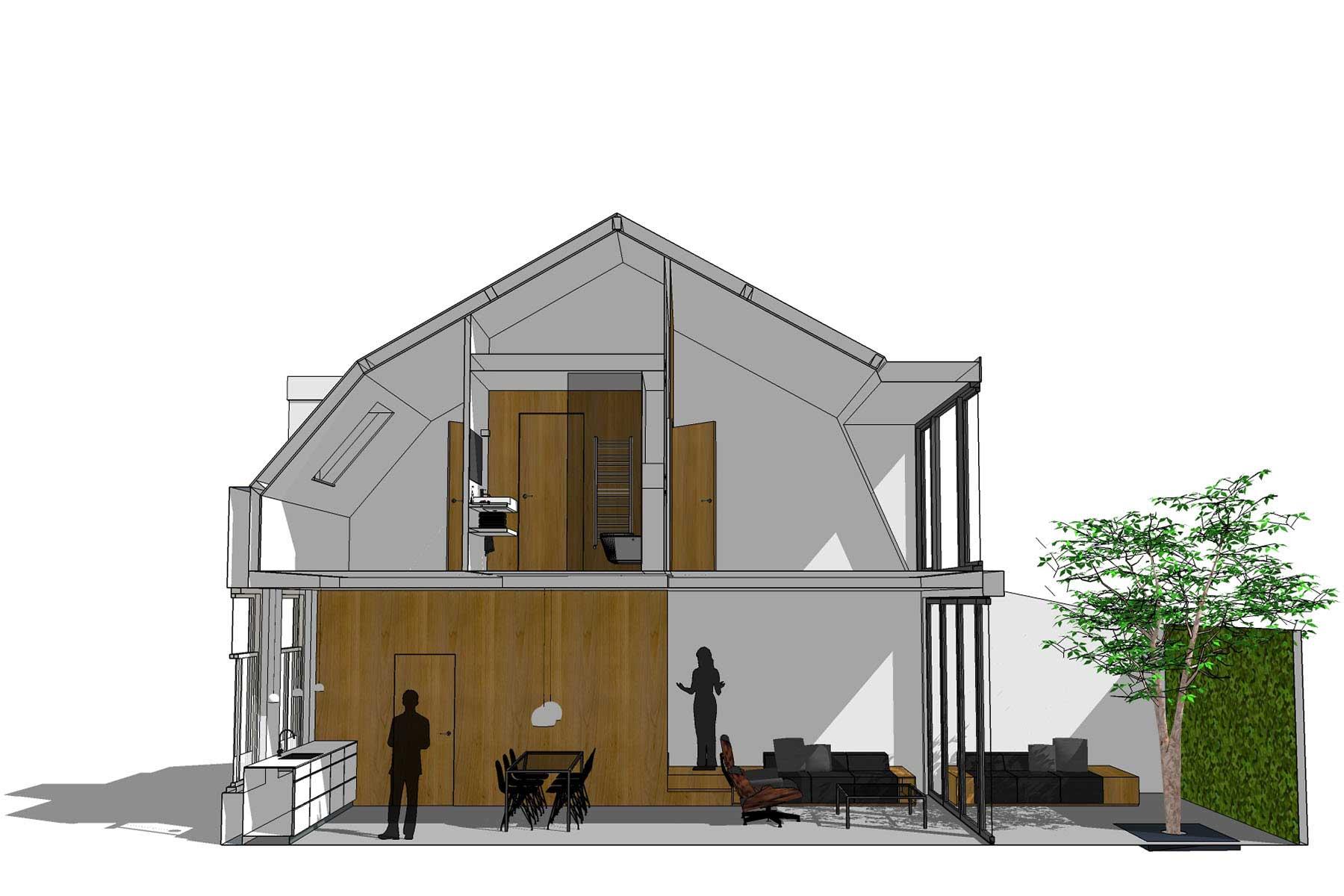8A Architecten - Verbouwing en interieur arbeiderswoning tot 'Pied a Terre', Leiden